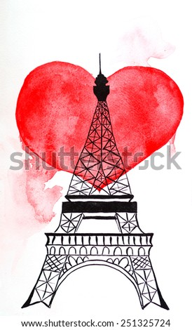 Eiffel tower. Hand drawing watercolor painting - stock photo