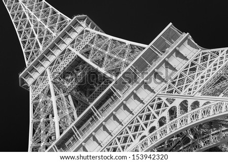 eiffel tower in black and white - stock photo