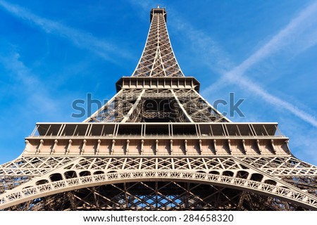 Eiffel tower in Paris against blue sky
