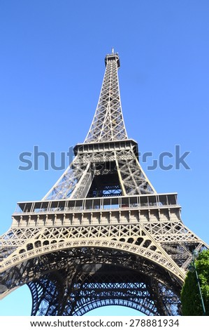 Eiffel tower in Paris and blue sky