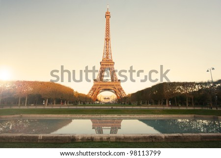 Eiffel Tower in Paris at sunrise
