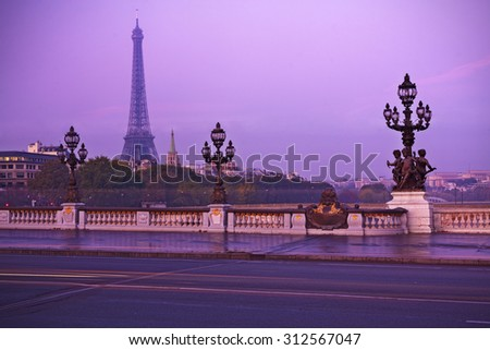 Eiffel tower in Paris at sunset