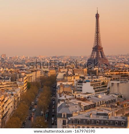 Eiffel tower in Paris,France - stock photo