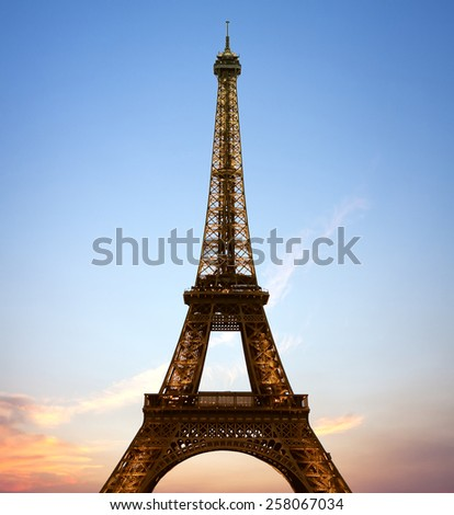 Eiffel Tower in Paris, France during sunset on June 27, 2014 year.