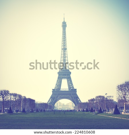Eiffel Tower in Paris, France. Instagram style filtred