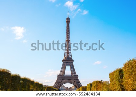 Eiffel Tower in Paris, France, seen from Champs de Mars