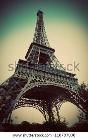 Eiffel Tower in Paris, France. Vintage, retro style