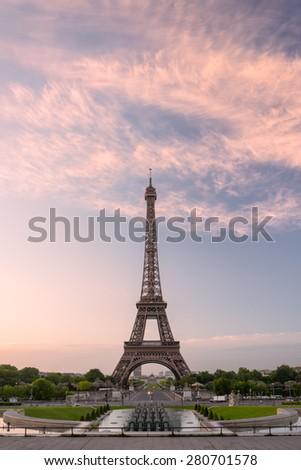 Eiffel tower in Paris on sunrise - stock photo