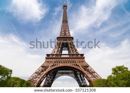 Eiffel Tower in Paris, photo taken in May 2011. - stock photo