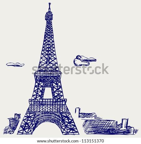 Eiffel Tower in Paris. Raster version - stock photo