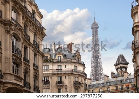 Eiffel tower in Paris. View from the city streets - stock photo