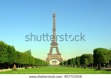 Eiffel tower in summer from Champ de Mars