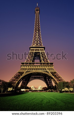Eiffel Tower in the evening after sunset - stock photo