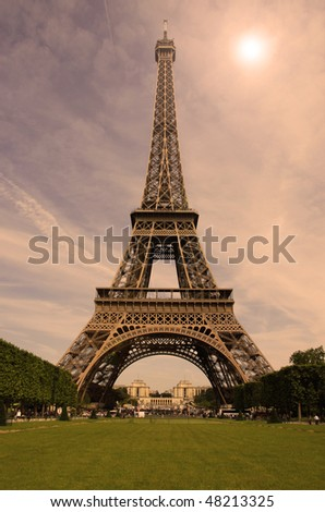 eiffel tower in the evening sunshine, Paris, France