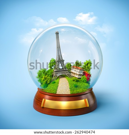 Eiffel tower in the glass ball. Unusual travel illustration. Paris - stock photo