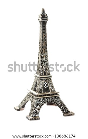 Eiffel Tower isolated on white - stock photo
