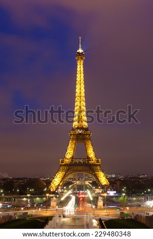EIFFEL TOWER - january 07. Eiffel tower in the city of Paris on january 07, 2013. Eiffel tower create by Gustave Eiffel, Paris, Ile-de-france, France