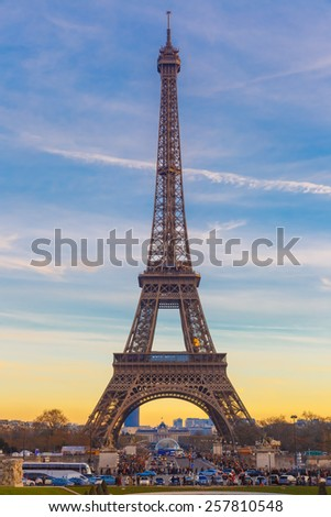 Eiffel tower, La Tour Eiffel, at winter suset in Paris, France. Beautiful view from Trocadero, Palais de Chaillot - stock photo