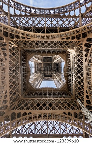 Eiffel Tower (La Tour Eiffel) located on Champ de Mars in Paris, named after engineer Gustave Eiffel. Eiffel Tower is tallest structure in Paris and most visited monument in the world. France. - stock photo