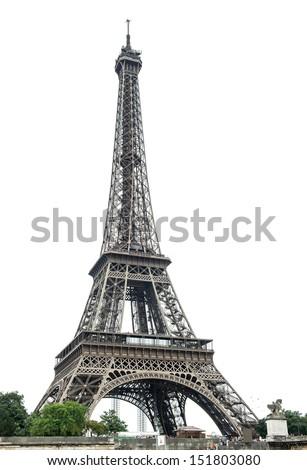 Eiffel Tower (La Tour Eiffel) over white background. Champ de Mars, Paris, Europe - stock photo