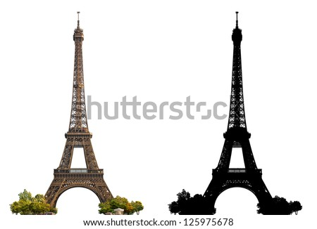 Eiffel Tower of Paris - isolated photograph with corresponding grayscale alpha mask - stock photo