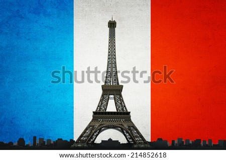 Eiffel tower on French flag background - stock photo