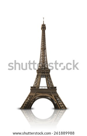 Eiffel Tower on White Background with Reflection - stock photo