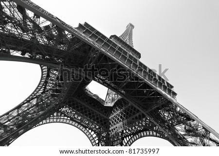 Eiffel tower, Paris. Black and white image - stock photo