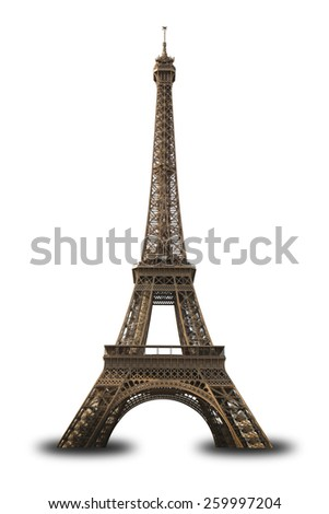 Eiffel Tower, Paris, France Isolated on White - stock photo
