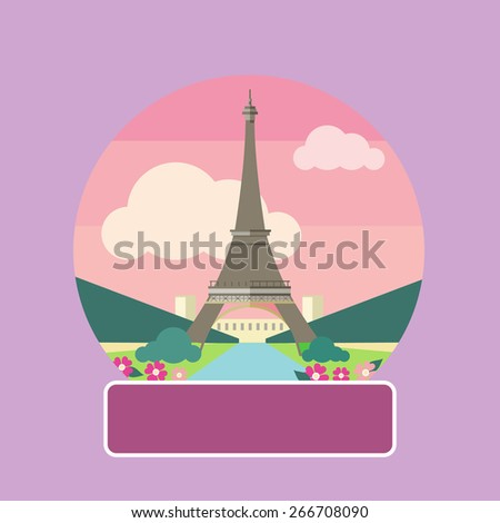 Eiffel tower, Paris. France. Poster concept in cartoon style with text. Raster version - stock photo