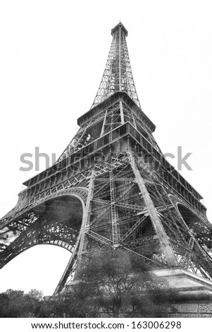 Eiffel tower, Paris, France, view from below, vintage photo.