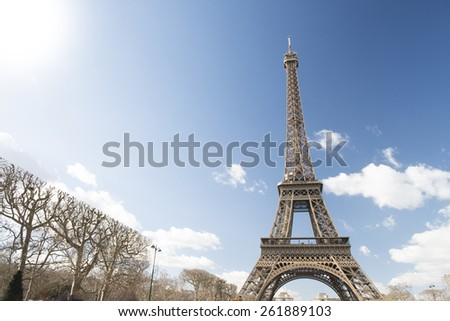 Eiffel Tower, Paris, France with cloudy sky