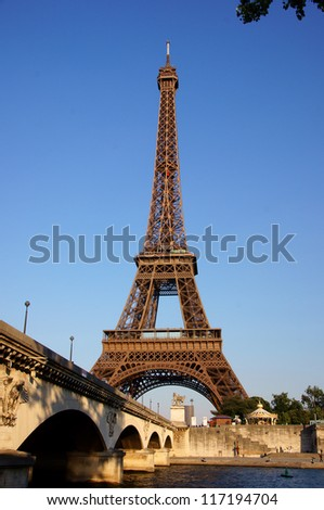 Eiffel tower, Paris, France with seine river and Iena bridge - stock photo