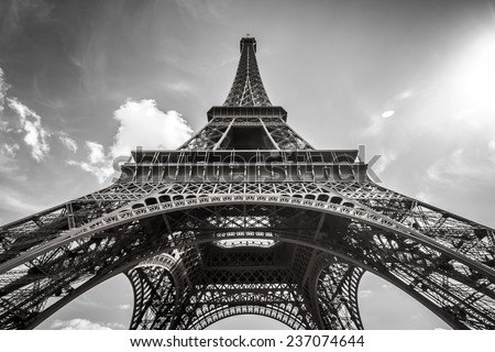 Eiffel Tower Paris in Black and White - stock photo