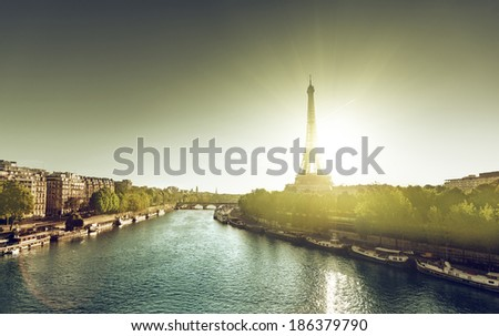 Eiffel Tower, Paris  in sunrise time - stock photo