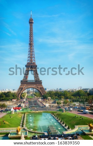 Eiffel Tower, Paris, view from Trocadero - stock photo