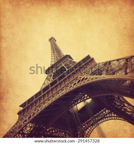 Eiffel tower. Photo in retro style. Added paper texture. - stock photo