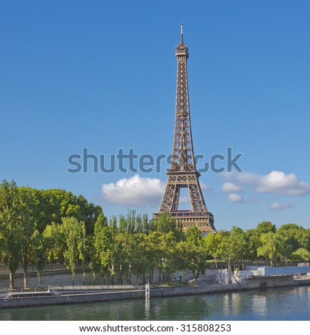 Eiffel Tower seen across  Seinei in Paris, France