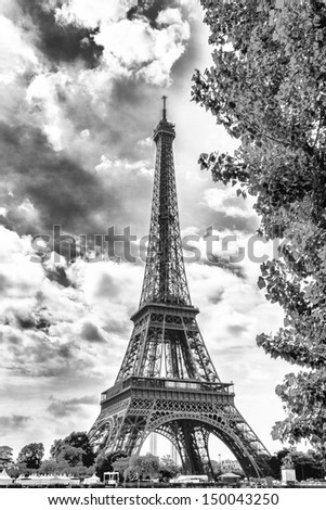 Eiffel Tower seen from along the Seine. - stock photo
