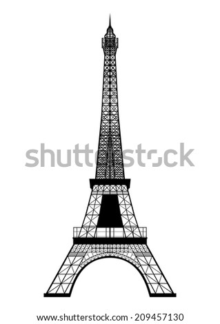 Eiffel Tower Silhouette isolated on white.