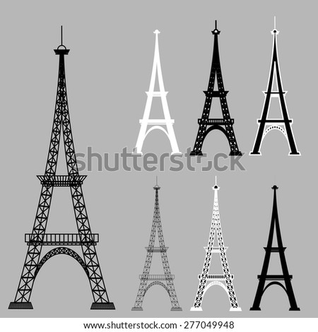 Eiffel Tower Silhouettes Isolared on Grey Background. - stock photo