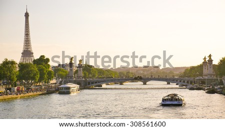 Eiffel Tower since Alexandre III Bridge in Paris, France - stock photo