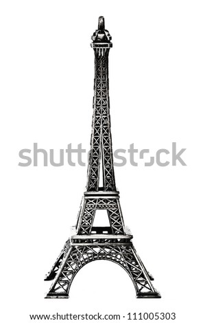 Eiffel Tower Statue, isolated on a white background