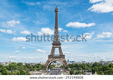 Eiffel Tower sunny day in Paris, France