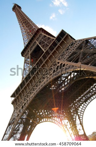 Eiffel Tower. The famous attraction in Paris, France