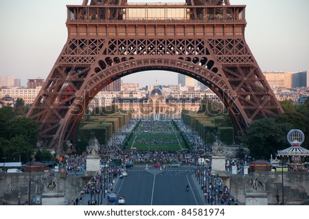 Eiffel tower, the famous landmark of Paris, France. - stock photo