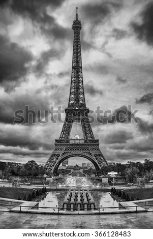 Eiffel Tower (Tour Eiffel) in Paris, France. Black and white photo