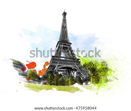 Eiffel tower - tour, Paris, France. Art with brushes and watercolors.
