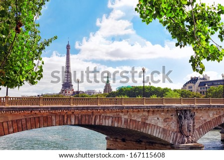 Eiffel Tower -view from Embankment of the River Seine.Paris