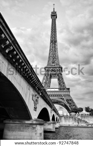 Eiffel tower view from Seine river under the bridge